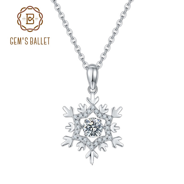 GEMS BALLET 925 Sterling Silver Snowflake Moissanite Diamond Pendant Necklace Women Jewelry with Twinkle Setting