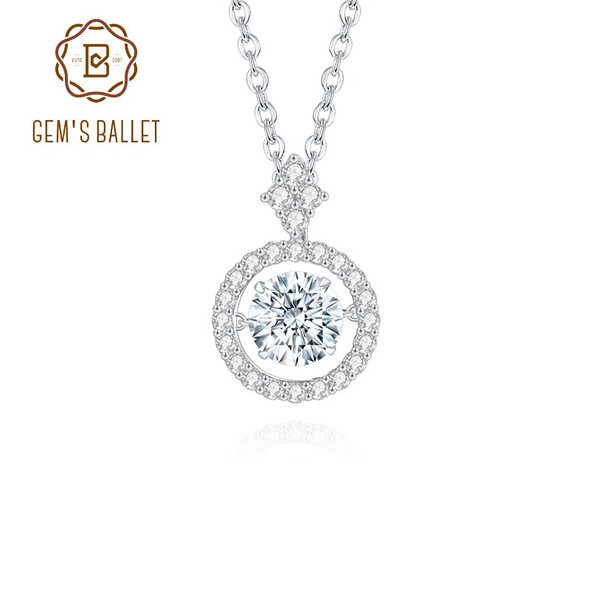 GEMS BALLET 1ct 6.5*6.5mm Moissanite Pendant Necklace 925 Sterling Silver Jewelry for Women Diamond with Twinkle Setting