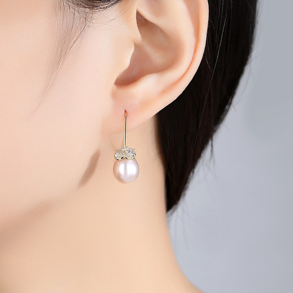 MetJakt S925 Sterling Silver Freshwater Pearl Micro-Inlaid  Zircon 18K Gold Electroplated Simple and Elegant Womens Ear Pendant