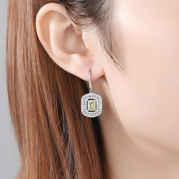 MetJakt S925 Sterling Silver Inlaid Citrine Fashion Exquisite Womens Ear Pendant