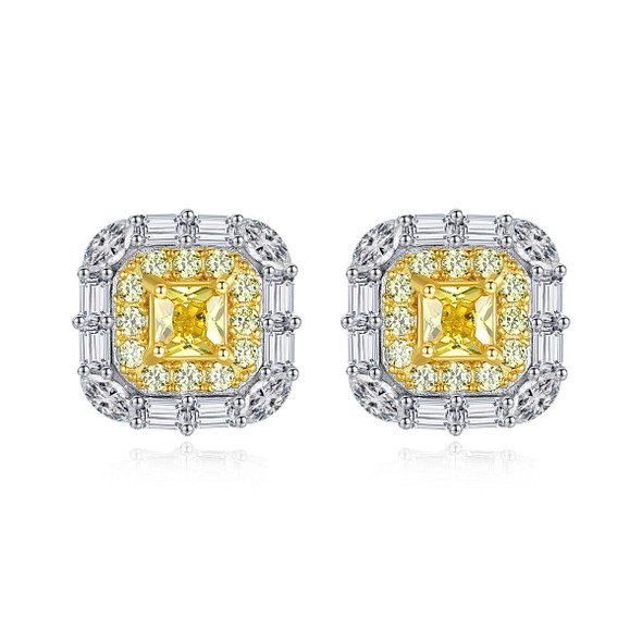 S925 Sterling Silver Simple Micro Pave Yellow Crystal Square Womens Ear Studs
