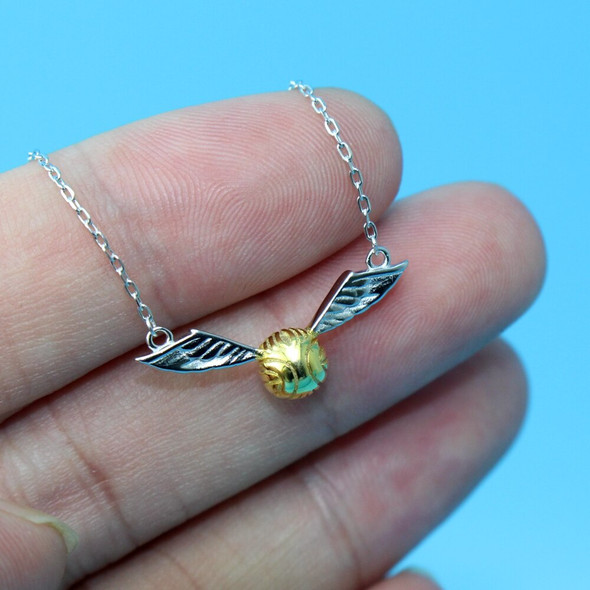 925 Sterling Silver Golden Snitch Pendant Necklace The Deathly Hallows Wing Charm Quidditch Gold Color Snitch Necklace