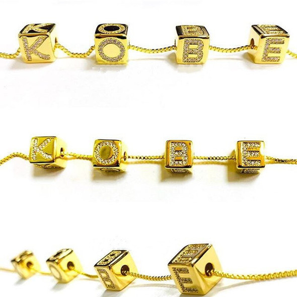 3UMeter 2020 New Baby Block Necklace Gemstones Pendant Letter Necklace Women Square Cute Necklace Gold Gift