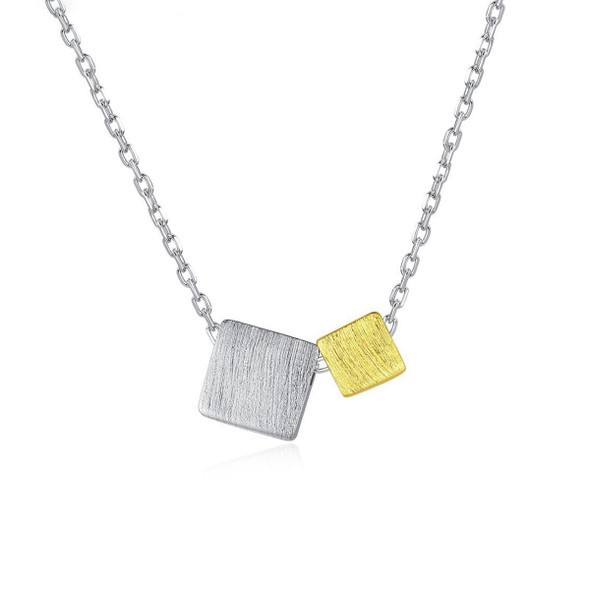 MetJakt S925 Sterling Silver Brushed Square Pendant Fashion Simple Short Sweet All-match Womens Necklace