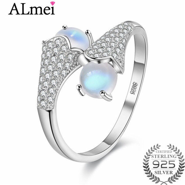 0.6ct Double Ball Moonstone Wedding Bridal Rings 925 Sterling Silver Unique Adjustable Jewelry for Women with Box CJ027