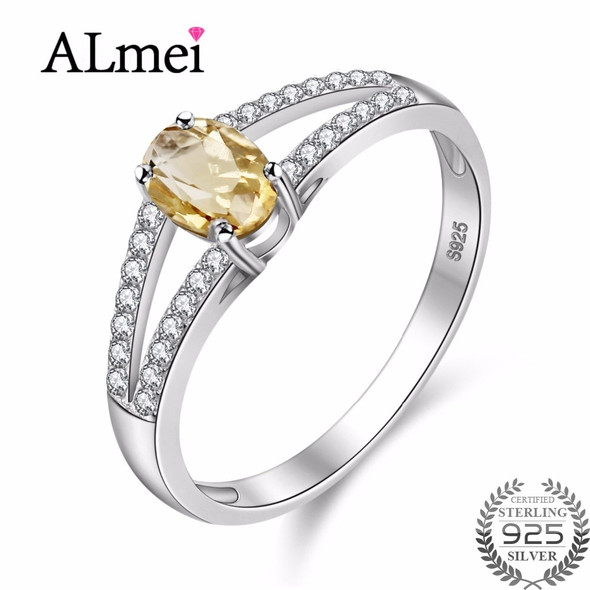 7mm Natural Oval Citrine 925 Sterling Silver Jewelry Yellow Rhinestone Wedding Ring with CZ Stone for Women with Box CJ035