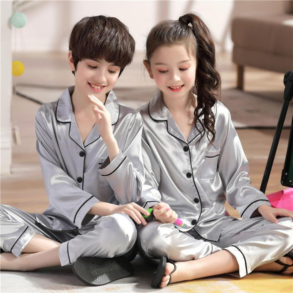 Boys And Girls Long-sleeved Pajamas Suits Solid Color Lapel Cardigan, Silk-like Comfortable Underwear, Long-sleeved Trousers