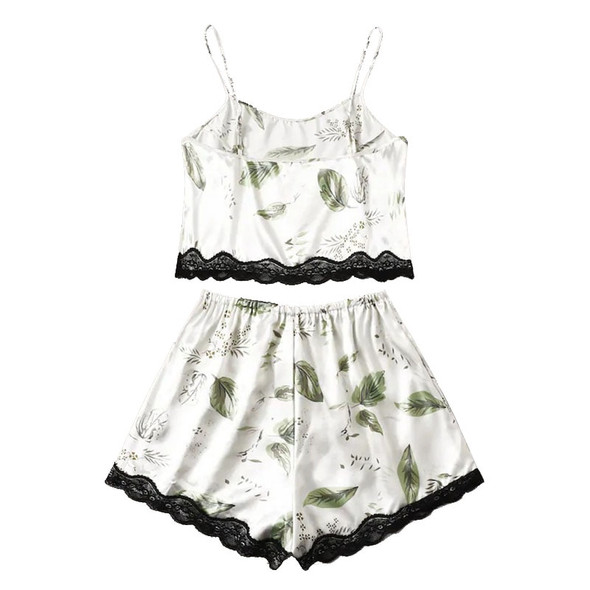 2020 New Arrival Women Printed Suspender Pajamas Sexy Lace Smooth Two-piece Sleepwear