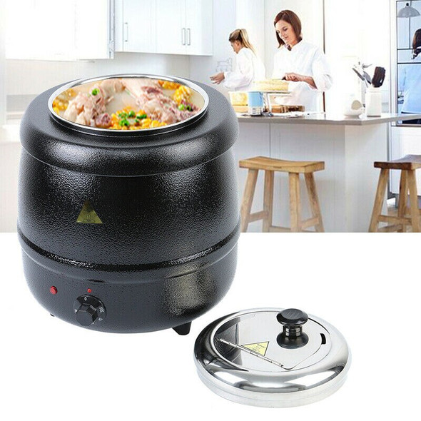 Yonntech 10L Soup Kettle Commercial Home Stainless Steel Electric Soup Pot Kitchen Food Cooking Warmer
