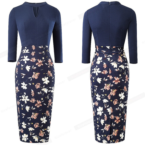 Nice-forever Retro Vintage Floral Printed Office Dresses Business Bodycon Sheath Fitted Women Dress btyB556