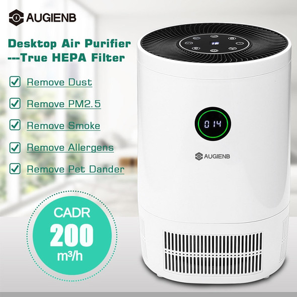 AUGIENB Air Ionizer Purifier For Home True HEPA Filters Desktop Purifiers Filtration Air Cleaner 200 m3/h CE for Smokers Pollen
