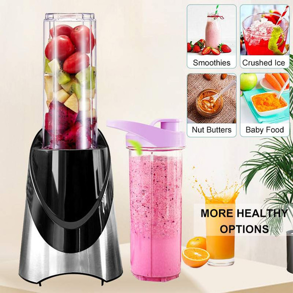 2 IN 1 Portable Electric Juicer Blender Mini Fruit Mixers Vegetables Fruit Extractors 500ML Bottle + 200ML Dry Grinder Cup