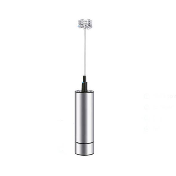 Electric Handheld Milk Frother Foamer Coffee Drink Blender Mixer Triple Spring Whisk Head & Clean Brush Head Kitchen Tools