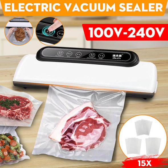 110/220V Vacuum Sealer Best Fully Automatic Portable Household Food Wet Dry Packaging Machine Sealing Include 15Pcs Bags Free