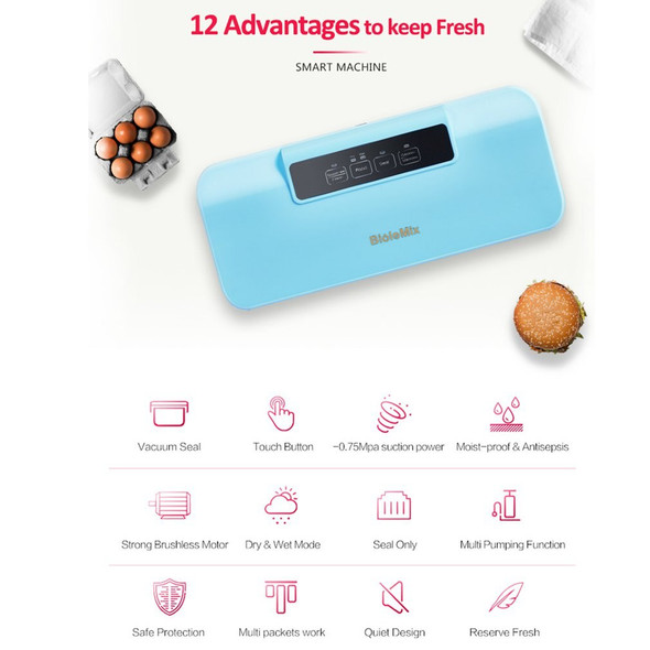 Biolomix Vacuum Sealer Automatic Food Packing Machine w/ 10pcs Bags Dry & Moist Vacuum Air Sealing System For Food Preservate