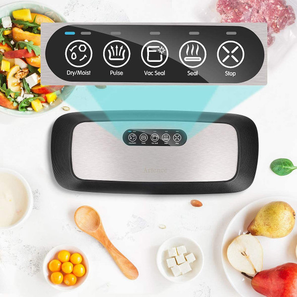 Artence Vacuum Sealer Machine, Automatic Food Sealer with 10pcs Vacuum Sealer Bags |Dry & Moist Food Modes |Easy to Clean