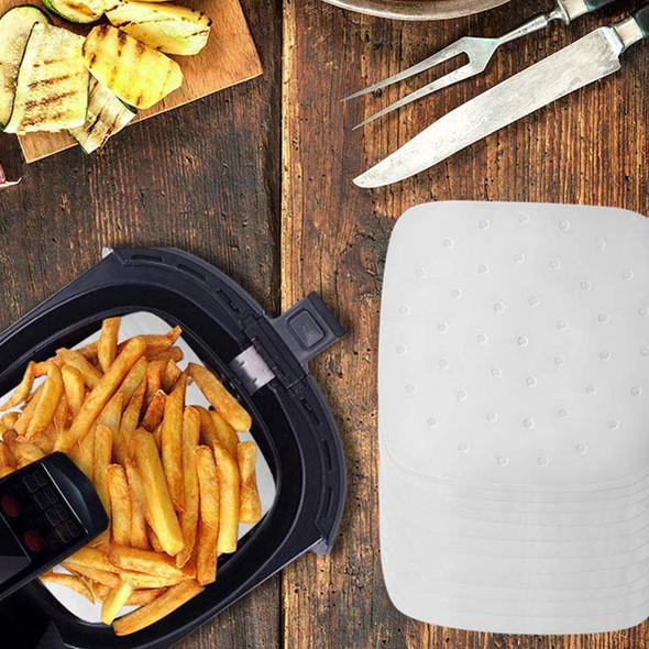 100 Sheets Air Fryer Liners Perforated Baking Paper Parchment Sheet Oven Steamer Pans Non-Stick Steaming Paper