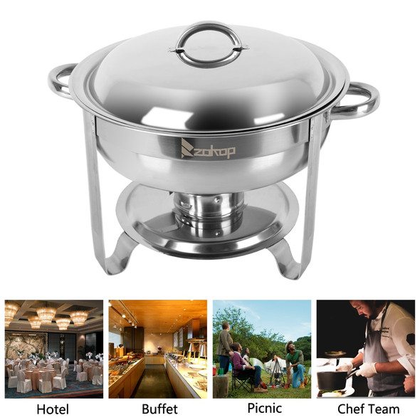 1 Piece 5L Stainless Steel Flip Round Buffet Chafing Dish Restaurant buffet Insulated Round Buffet Stove