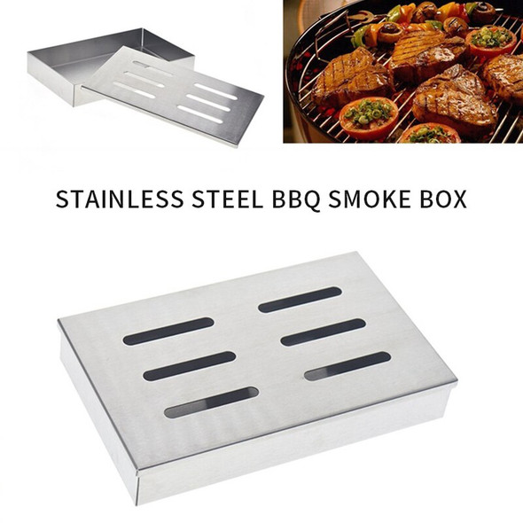 Washable And Stainless Steel Chip BBQ Box For Outdoor Charcoal Gas Barbecue Grill Meat Infused Smoke Flavor Accessories With Lid