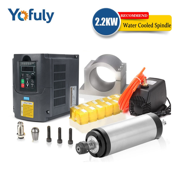 1.5kw/2.2kw water cooled spindle CNC spindle motor+2.2KW VFD+ 80mm clamp + water pump +13pcs ER20 Collet for CNC Router