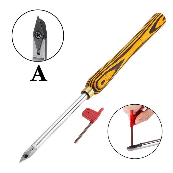 2020 New Hand Turning Tool Tipped Wood Lathe Carbide Shank Chisel Diamond Round Square Insert Tool Set Machine Tools Accessories