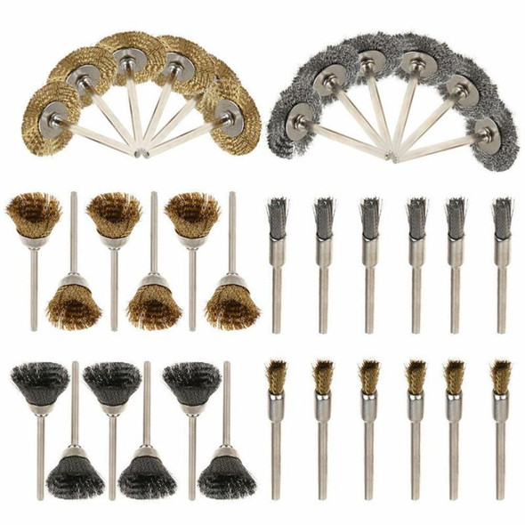 36 Pcs Steel Wire Wheel Brushes Buffing Drill Rotary Tools Grinder Welding Polishing Cups Drill Bit For Metal Rust Removal Brush