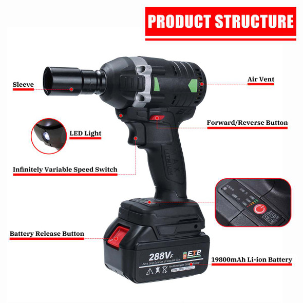 110-240V 630N.m 288VF Cordless Brushless Electric Impact Wrench Electric Wrench with 1x Li-ion Battery Installation Power Tools