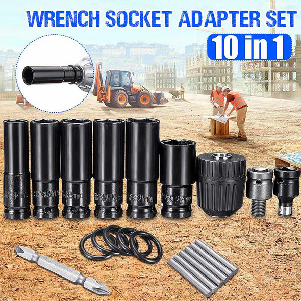 10pcs Electric Impact Wrench Hex Socket Head Set Kit Drill Chuck Drive Adapter SET for Electric Drill Wrench Screwdrivers