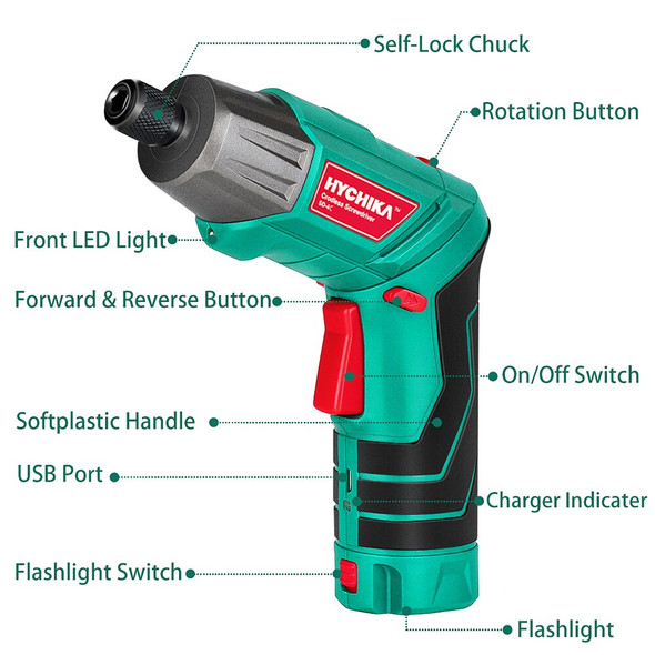 HYCHIKA Cordless Electric Screwdriver 3.6V 2.0Ah Rechargeable Power battery Screwdriver Twistable Handle LED Torch Power Tool