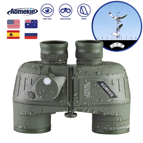 10X50 High Power Binoculars with Rangefinder Compass for Hunting Boating Bird Watching Nitrogen Floating Waterproof