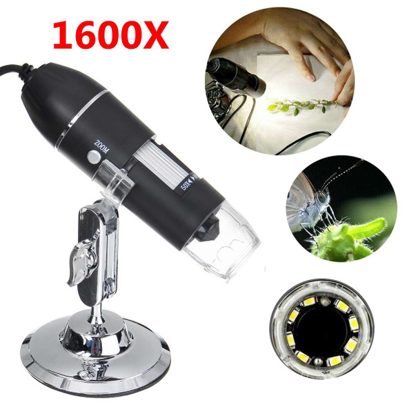 0-1600X 2MP 3 In 1 USB Type C LED Adjustable Microscope Handheld Portable Digital Microscope Interface Electron 8 LEDs +Bracket