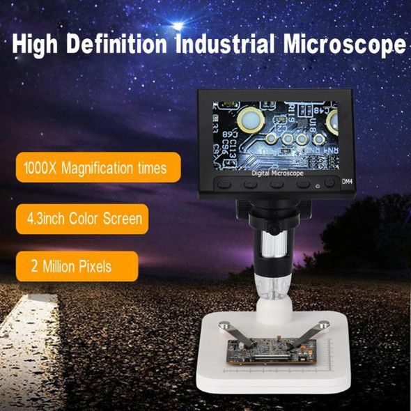 "1000x 2.0MP USB Digital Electronic Microscope DM4 4.3""LCD Display VGA Digital Microscope 8 LED Stand for PCB Motherboard Repaire"