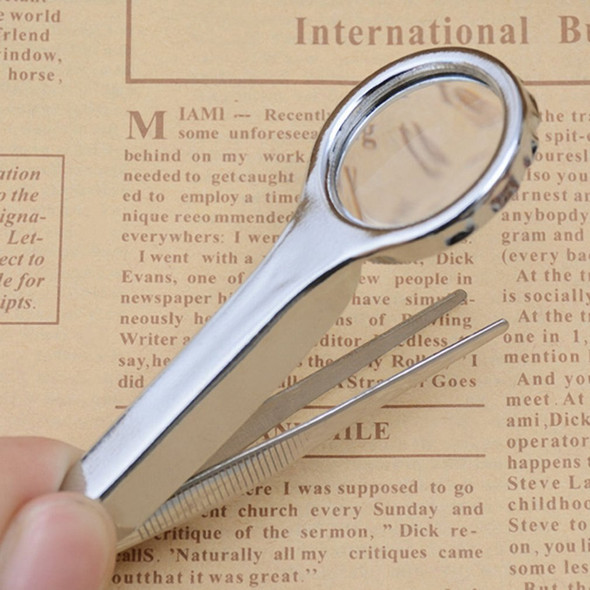 10X Magnifier Tweezer Portable Size Stainless Steel Magnifying Glass With Tweezer Handheld Repairing Loupe Tool Wholesale