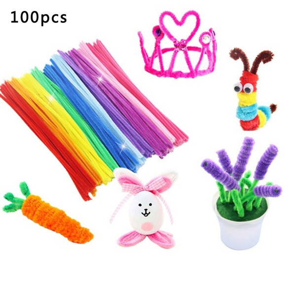 100pcs Chenille Stems Pipe Cleaners Kids Plush Stick Childrens Educational Toys Handmade Art Materials Toys DIY Craft Supplies
