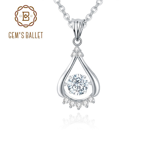 GEMS BALLET 925 Sterling Silver Water Drop Womens Pendant Necklace 0.5Ct D Color Round Moissanite with Twinkle Setting Jewelry