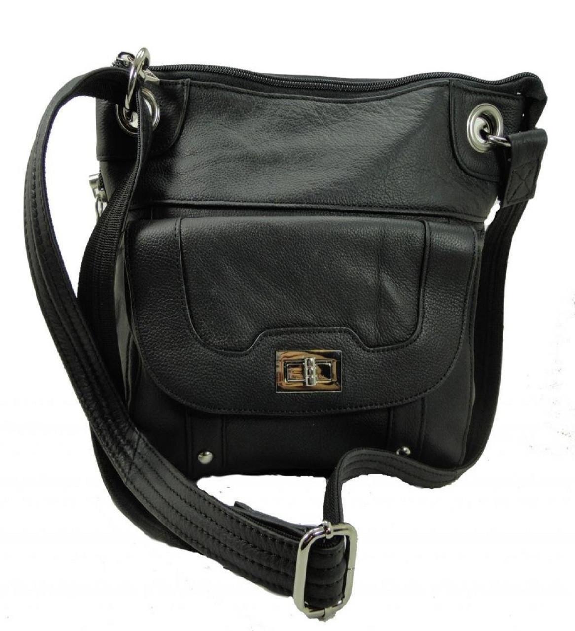 Roma Leathers 7028 Black Genuine Leather Turnlock Concealed Purse ea5164019b01