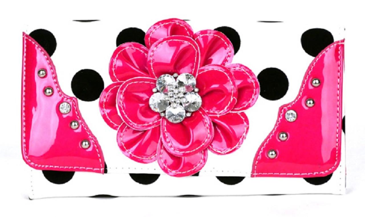 HBM Pink Polka Dot Flower Rhinestone Fashion Purse