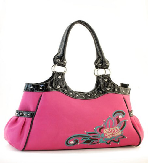 Pink Flower Accent Purse - Handbags