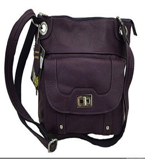 Concealed Carry Cross Body Leather Gun Purse with Slash Resistant  Strap-Purple 39cd580140179