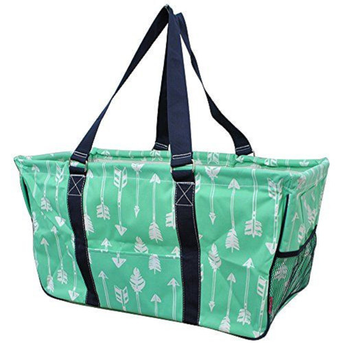 c3b801282d Arrow Print Large Canvas Utility Tote Bag-Mint