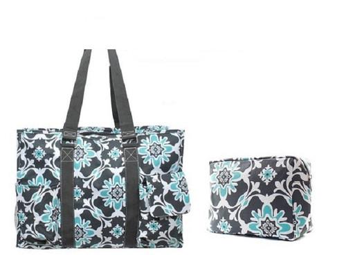 Quatre Vine Print Medium Canvas Utility Tote Bag Set-Aqua 6f0ba3515d727
