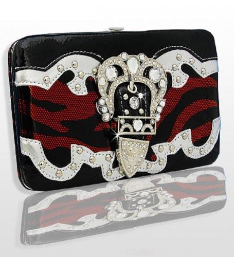 Red And Black Zebra Print Western Style Buckle Wallet Handbags