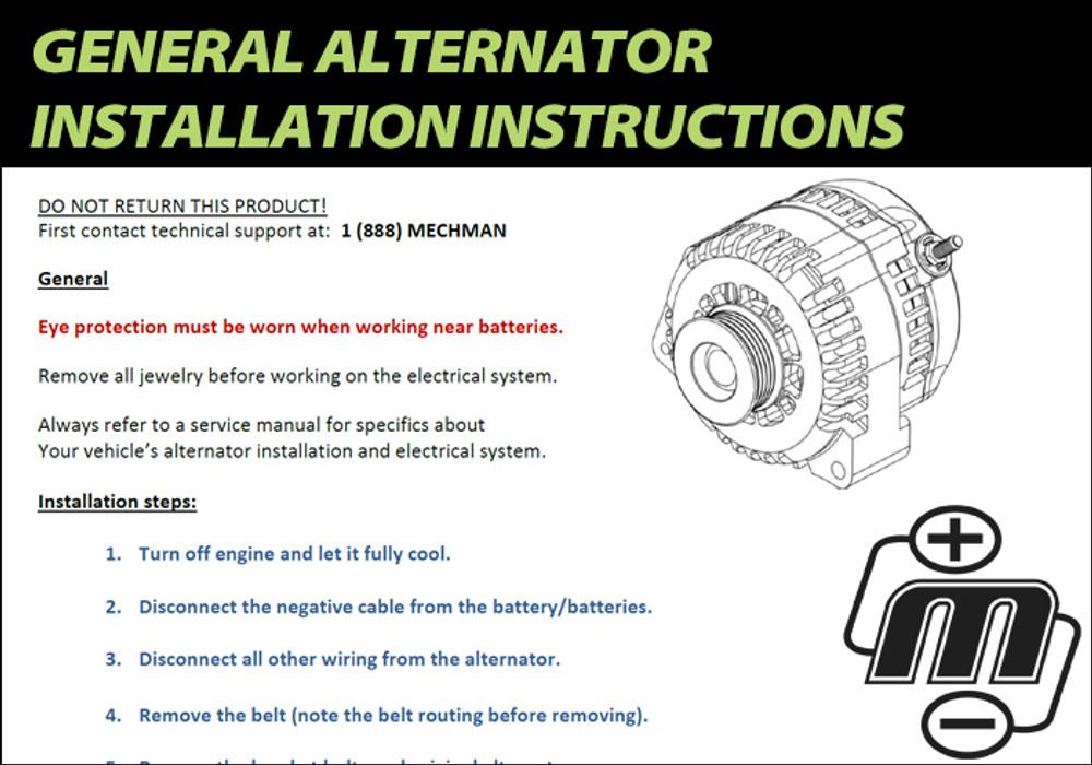 General Alternator Installation Instructions