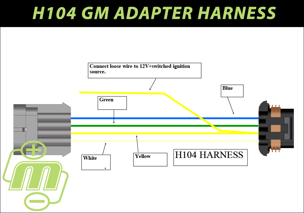 H104 GM adapter harness for S and E series hairpin alternators