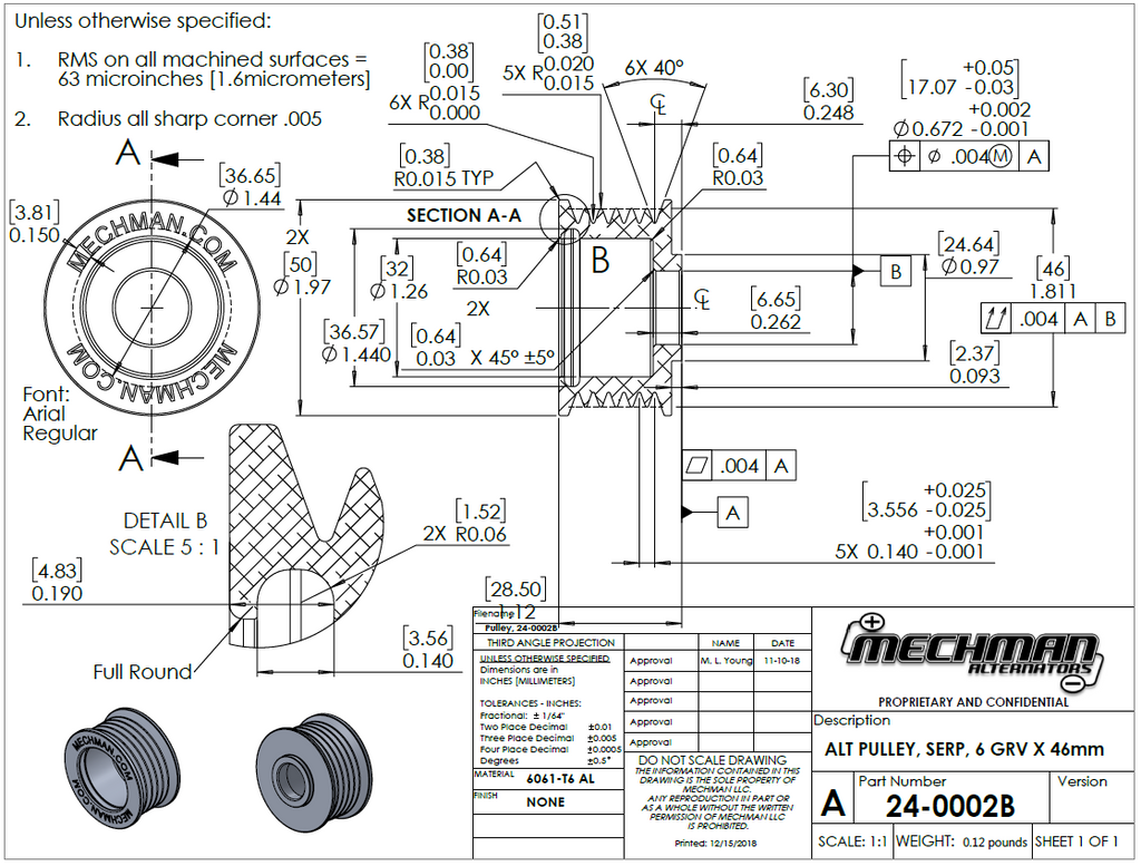 46mm 6 rib serpentine pulley - hard anodized aluminum