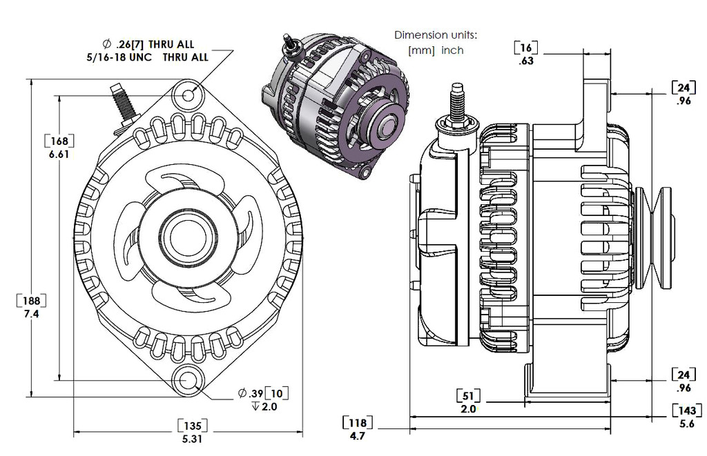 Marine 170 amp high output alternator for Ski / Wake Board Boats with 12SI 6.61 inch bolt pattern 6-Grove Serpentine Pulley