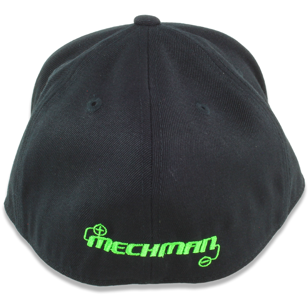 Mechman Embroidered Black Flexfit Fitted Hat - Curved Bill -