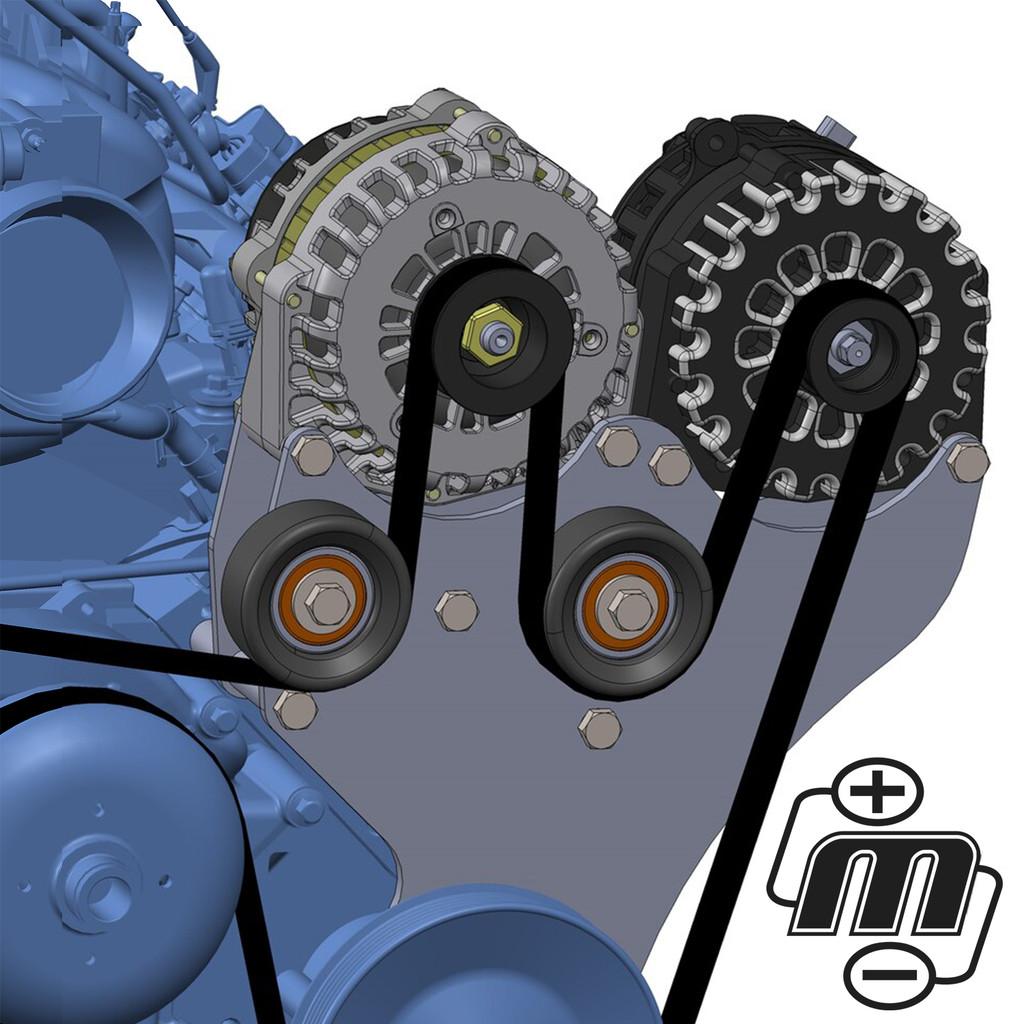 Dual Bracket Black 05-13 GM Trucks w/4.8L, 5.3L, 6.0L & 6.2L (Includes 1 x B8206400B)