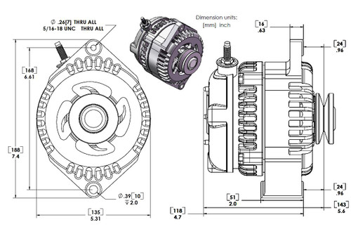 """S Series 6 Phase High Output 320 Amp Alternator with 6.61"""" - Chrome w/March 1.75"""" Pulley and Fan"""