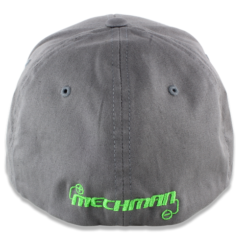 Mechman Embroidered Gray Flexfit 210 Flatbrim Fitted Hat